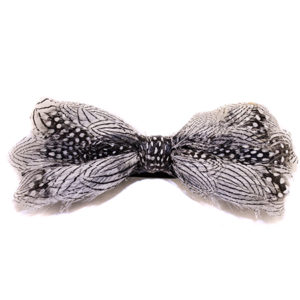 Silver Pheasant-Guinea Feather Bow Tie