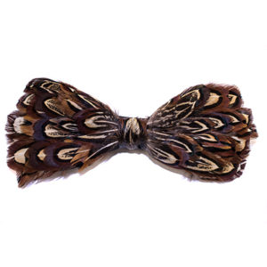 Almond Brown Pheasant Feather Bow Tie