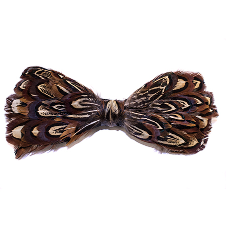 c7a1f836a597 Almond Brown Pheasant Feather Bow Tie | Soundchick Accessories
