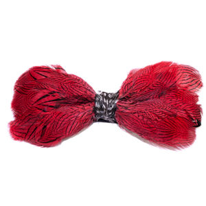 Red Silver Pheasant Feather Bow Tie