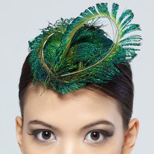 Peacock Feather Fascinator Close Up
