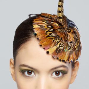 Almond Pheasant Feather Fascinator/Mini Hat Close Up