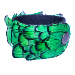 Green Pheasant Feather/Leather Cuff