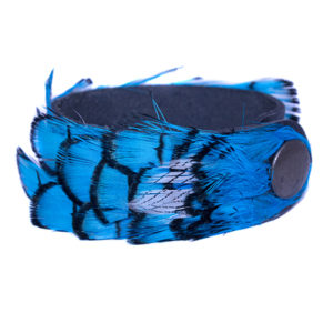 Turquoise Pheasant Feather/Leather Slim Cuff