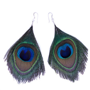 Round Peacock Feather Earrings