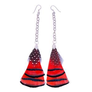 Pheasant Chain Drop Earrings