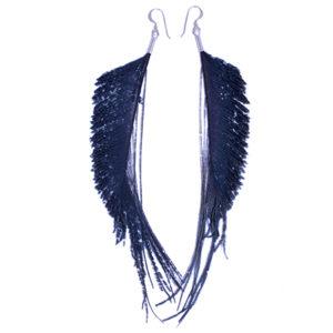 Black Peacock Sword Feather Earrings