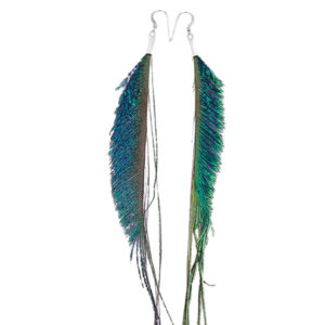 Natural Peacock Sword Feather Earrings