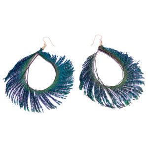 Peacock Feather Hoop Earrings