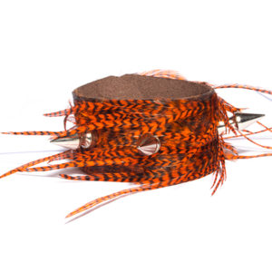Orange Grizzly Feather/Leather Spiked Cuffs