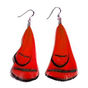 Red Phesant Feather Earrings