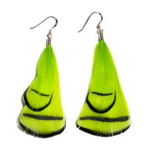 Chartruse Phesant Feather Earrings
