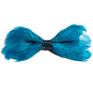 Turquoise Phesant Feather Bow-Tie