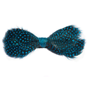 Turquoise Guinea Feather Bow Tie