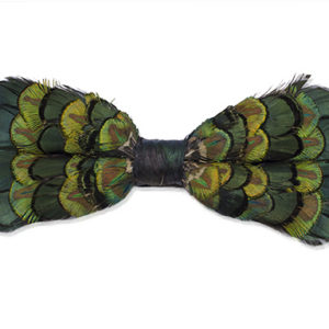 Royal Mix Peacock Bronze Pheasant Feather Bow-Tie