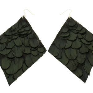 Bronze Diamond Pheasant Feather Earring