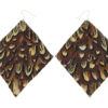 Brown Pheasant Diamond Feather Earrings