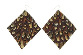 Brown Pheasant Diamond Feather Earrings