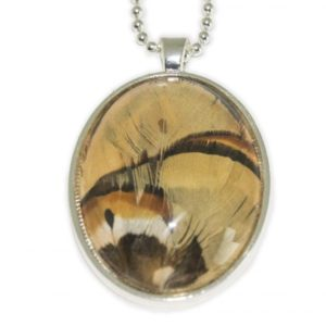 Tan Pheasant Feather Glass Pendant Necklace