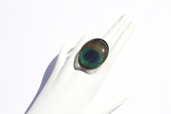 Peacock Feather Glass Ring