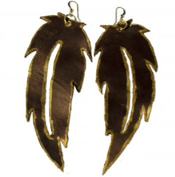 Leather Earrings, Leather Accessories, Leather Feather Earrings