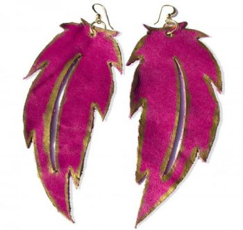 Leather Earrings, Feather Earrings